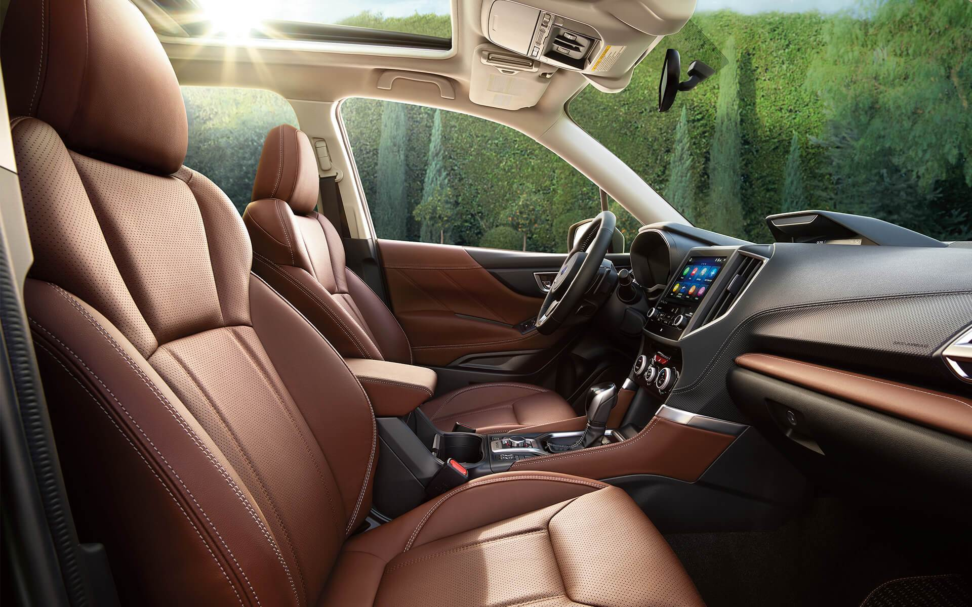 Subaru Image: Touring interior shown in Saddle Brown Leather