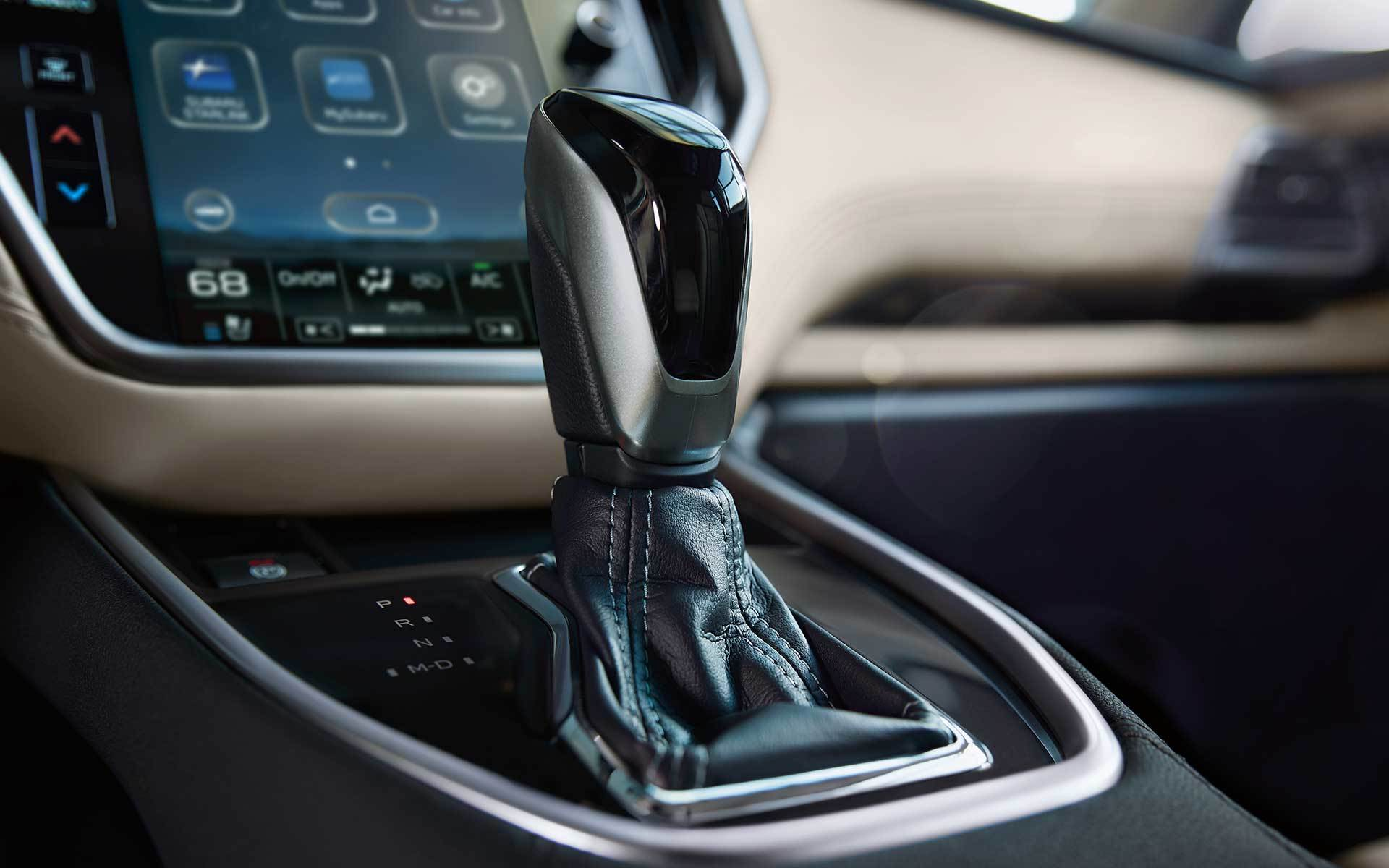 Subaru Image: Available leather-wrapped shifter with boot