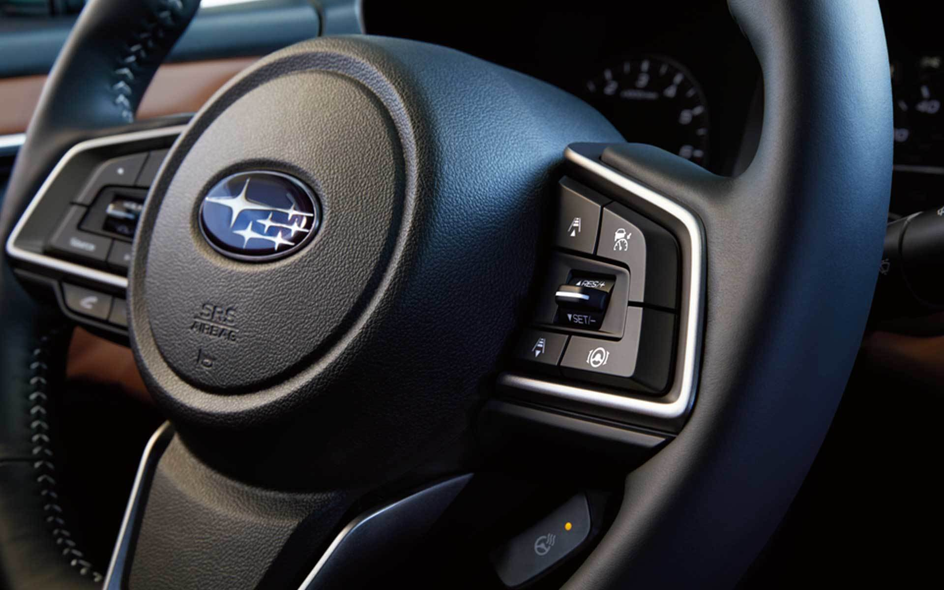 Subaru Image: Available heated leather-wrapped steering wheel