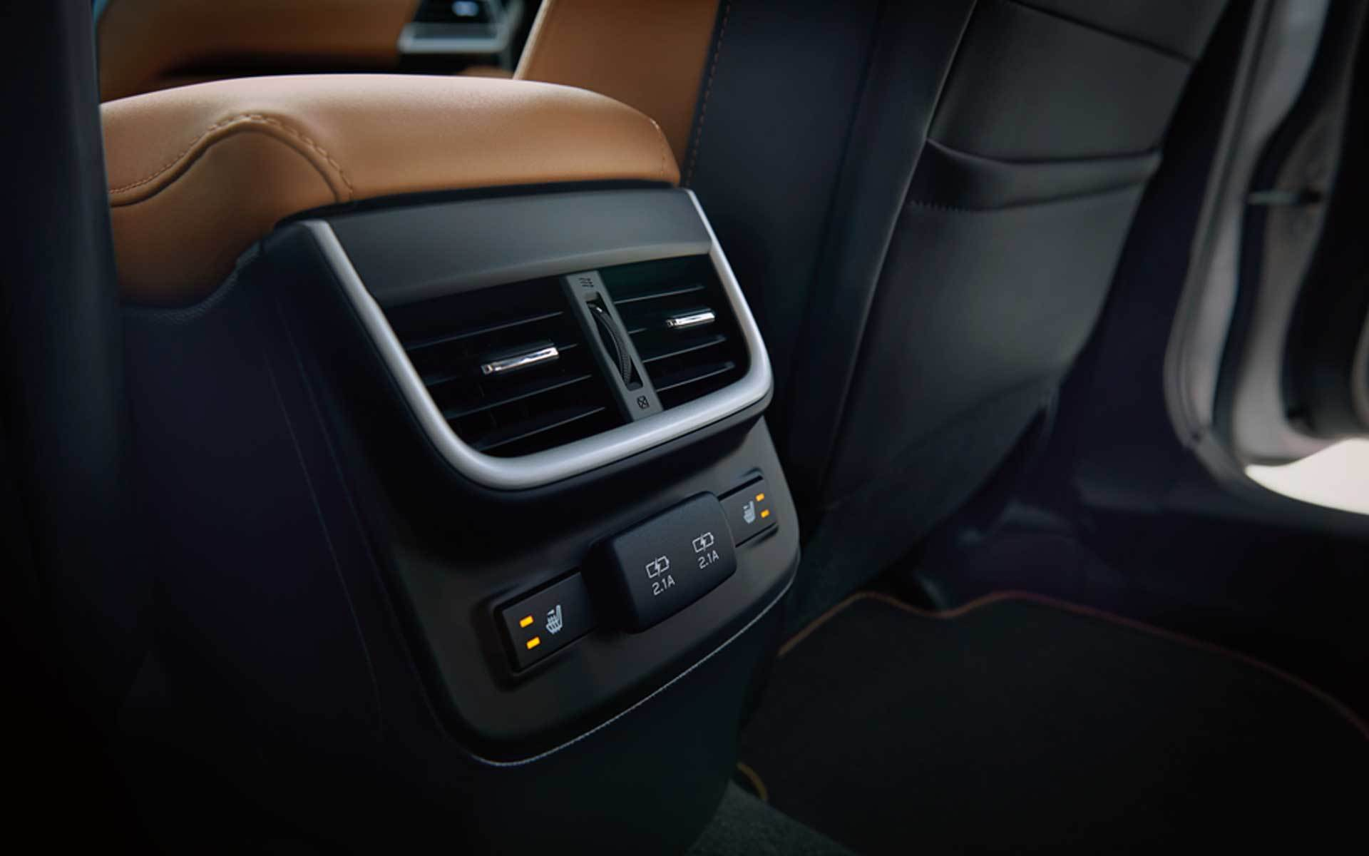 Subaru Image: Available rear-seat air conditioning vents, heated outboard seats and dual USB charging ports