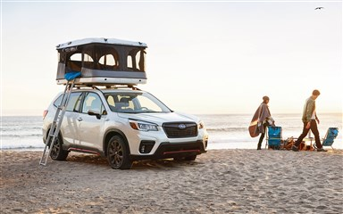 subaru image sport shown in crystal white pearl with accessory and aftermarket equipment 2019 subaru forester