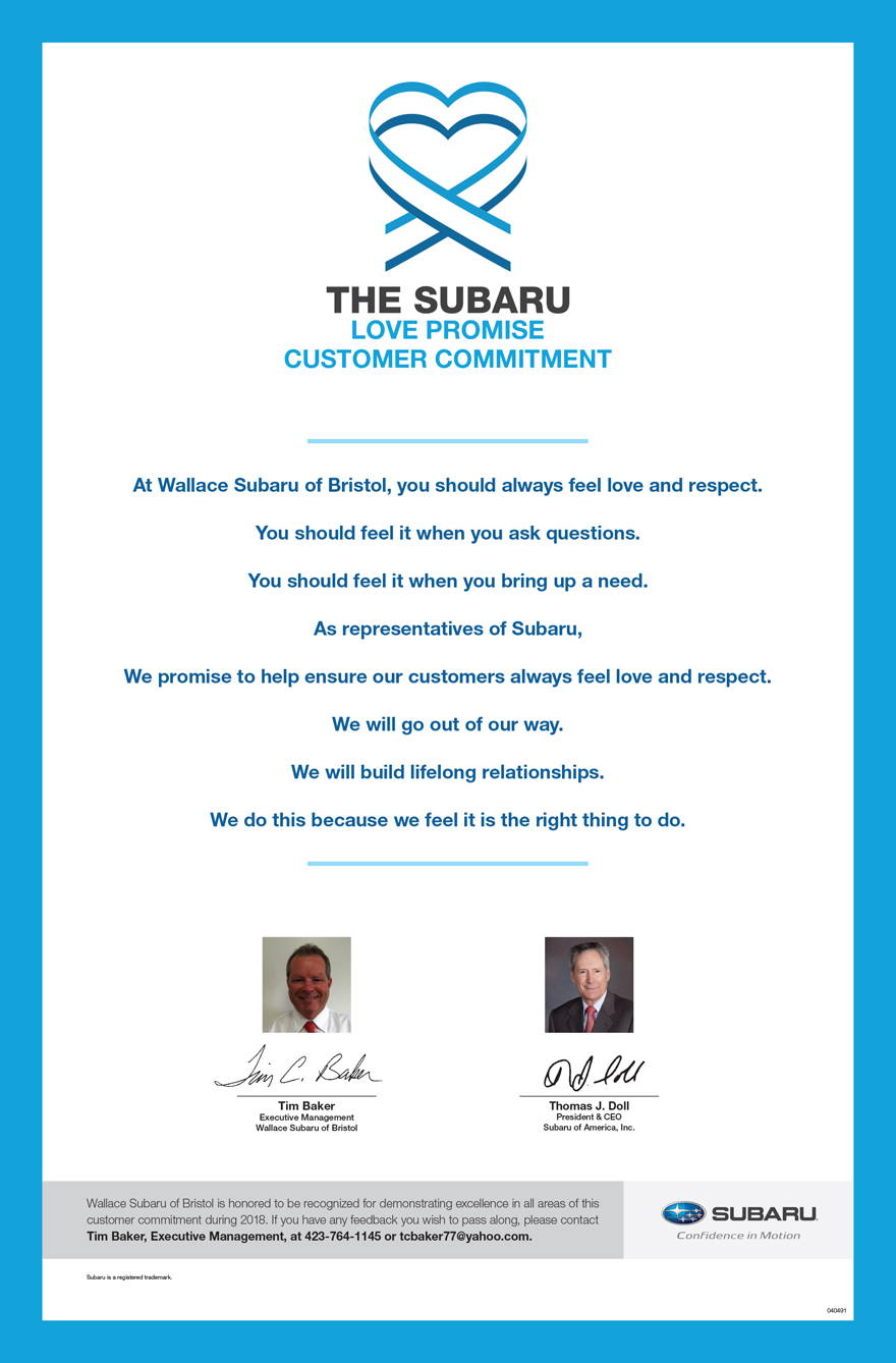 The Subaru Love Promise - Customer Commitment