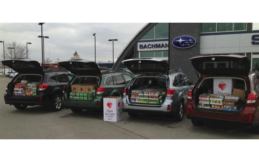 Bachman Subaru Conducts a Canned Food Drive Dare to Care Food Bank