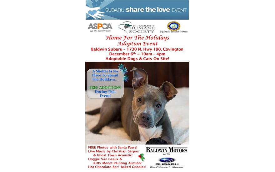 Baldwin Subaru Supports St. Tammany Humane Society's Home for the Holidays Adoption Event