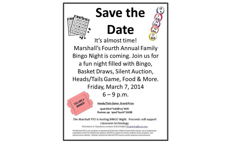 Marshall PTO Bingo and Silent Auction Fundraiser