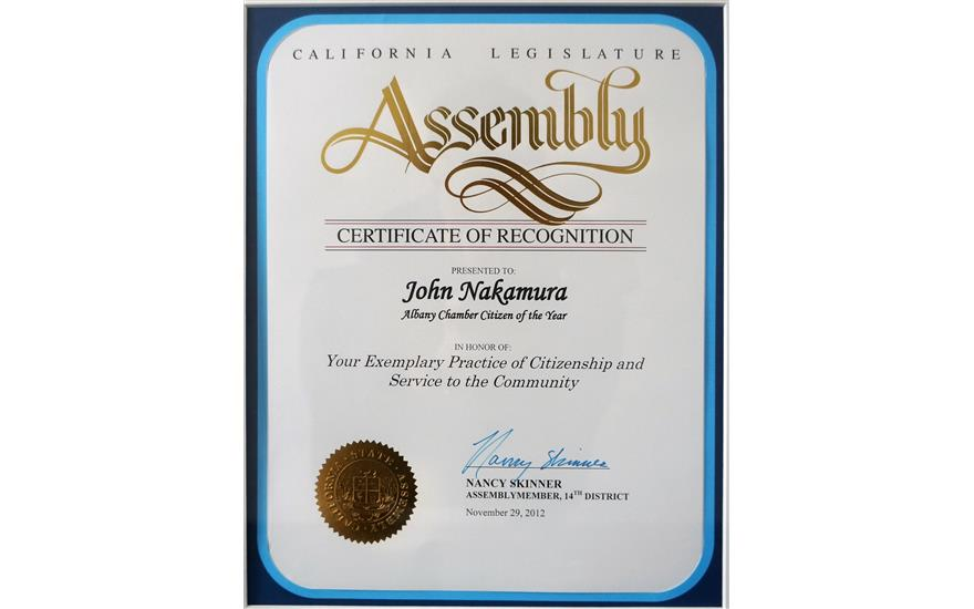 John honored by California Legislature Assembly