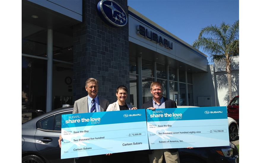 Carlsen Subaru Presents Check to Save The Bay