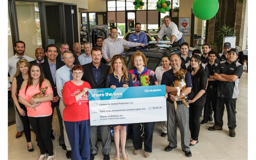 West Houston Subaru Presents CAP Check for $33,831
