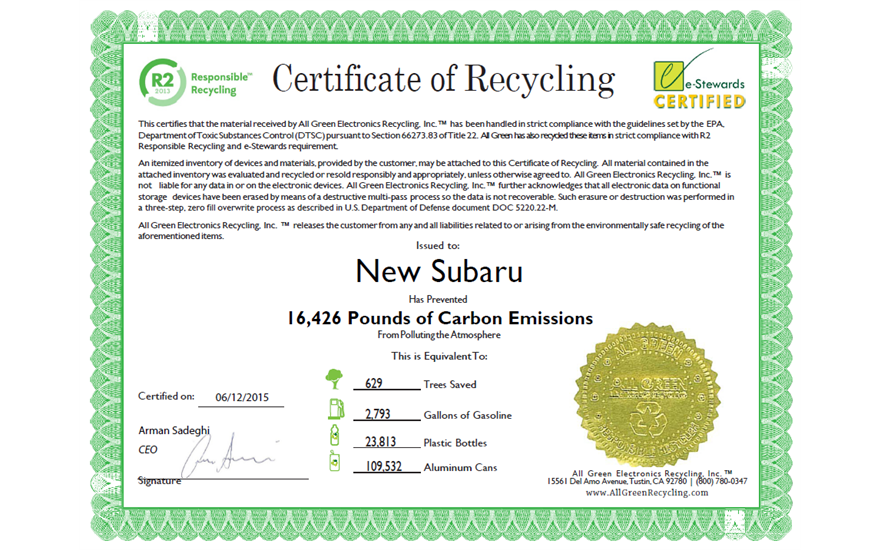 Subaru Loves the Earth - E-Waste Recycling Event