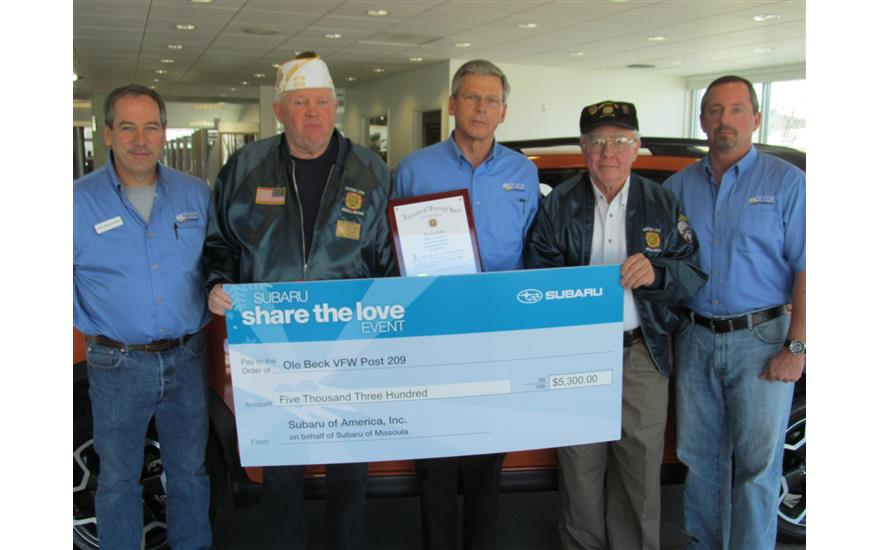 Subaru Of Missoula Donates To Local VFW