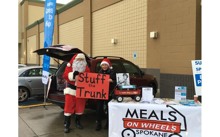 Stuffing Santa's Forester for MOW Spokane!
