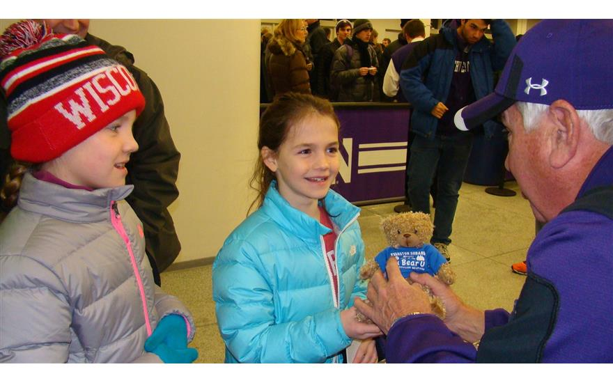 Subaru Bear giveaway at Northwestern Basketball