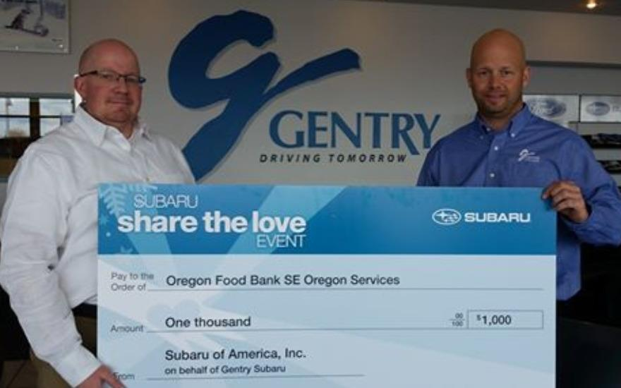 GENTRY GIVES DURING SHARE THE LOVE