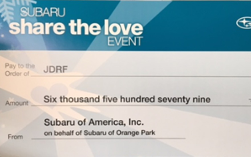 Subaru of Orange Park JDRF Donation