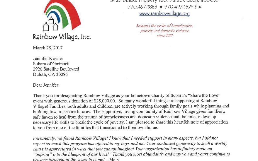 Rainbow Village Check Donation