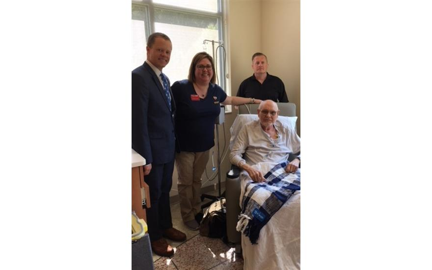 Blankets delivered to cancer patients with LLS