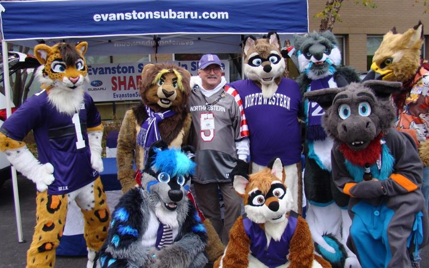 Mascots Converge at Evanston Subaru's Display.