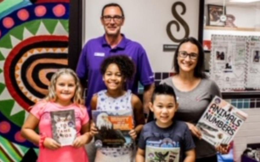 Book donation at Roosevelt Elementary