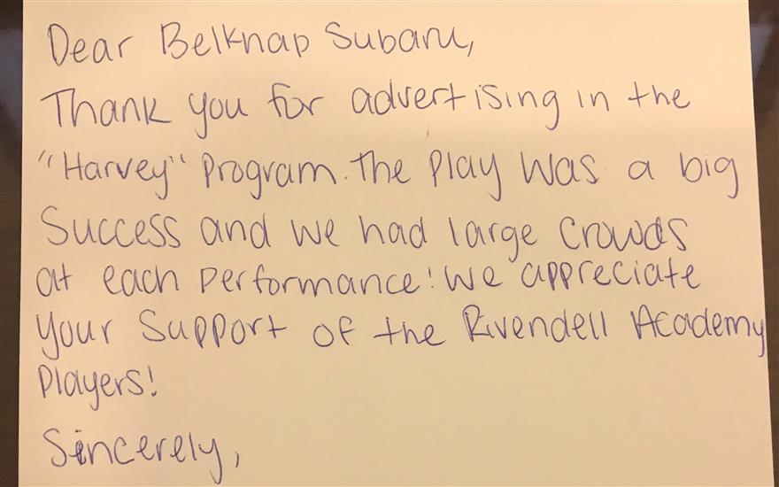 Belknap Subaru Loves the Arts!
