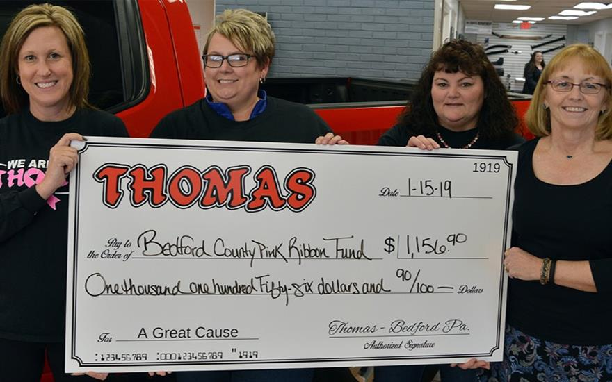 Employees Donate to Bedford Co. Pink Ribbon Fund