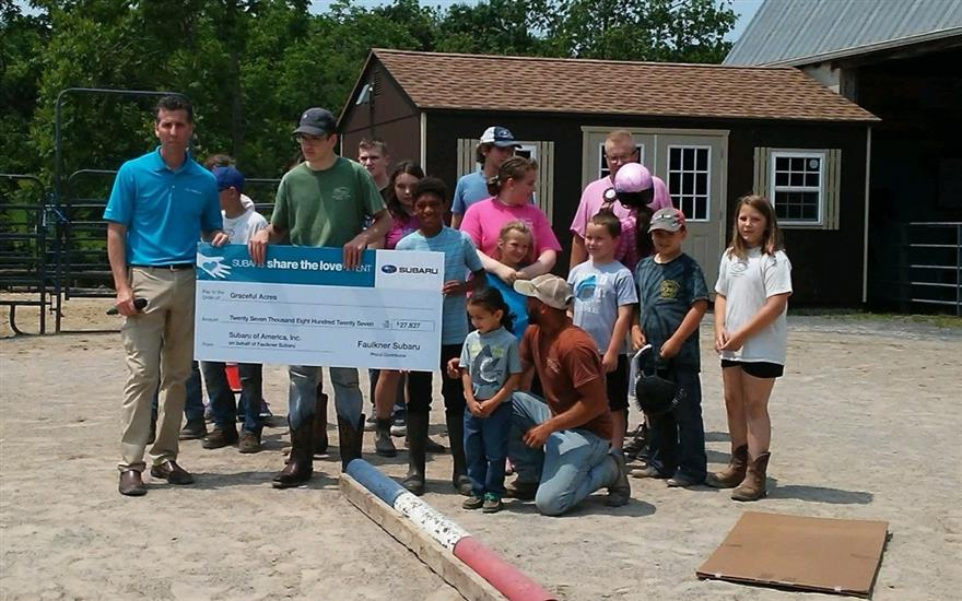 Faulkner Subaru helps fund indoor riding facility!