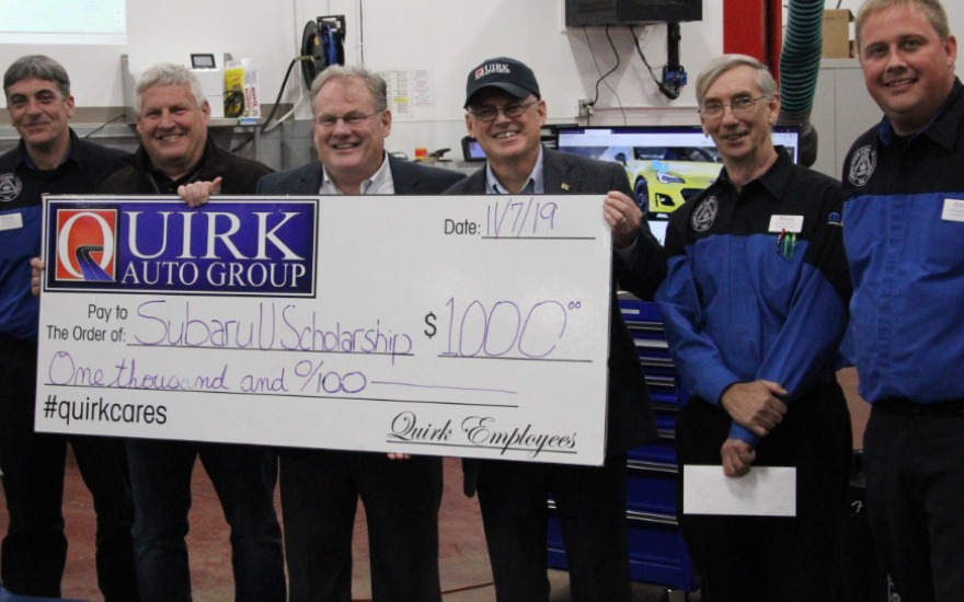 Quirk Subaru donates $1,000 Automotive Scholarship