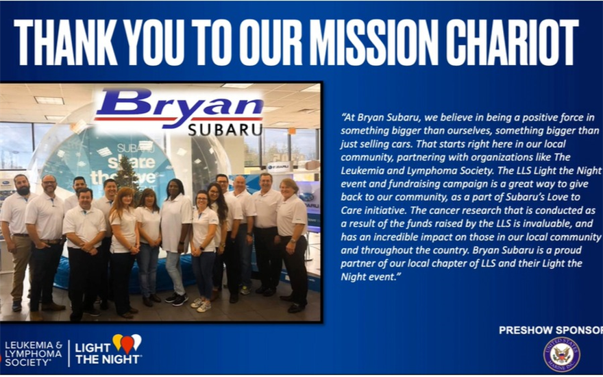 Bryan Subaru is our Mission Chariot
